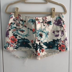 Floral denim Free People shorts
